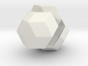 Exploded Rhombic Triacontahedron in White Strong & Flexible