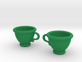 Coffee Cups Earrings in Green Strong & Flexible Polished