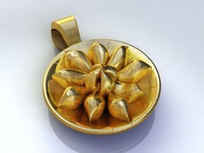 Nymphaea Flower Pendant in Polished Gold Steel