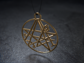 Cthulhu Sigil of the Gateway Pendant in Polished Brass