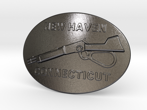 Winchester Belt Buckle in Polished Grey Steel