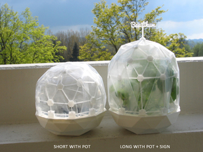 Flexible Mini Greenhouse-Dome Set with Pot (long) in White Strong & Flexible