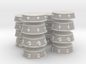 Chess Bases White over Grey - 1 inch in Full Color Sandstone