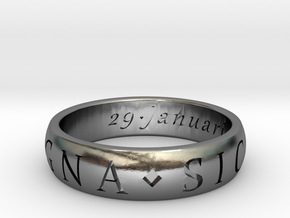Sir Francis Drake, Sic Parvis Magna Ring Size 12.5 in Polished Silver
