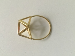 Amplituhedron Ring (Size 8) in 18k Gold Plated