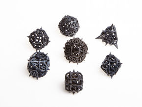 Thorn Dice Set with Decader in Matte Black Steel