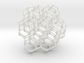 Bituncated Cubic Honeycomb Sacred Geometry 80mm  in White Strong & Flexible