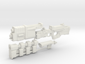 1/6th scale Railgun Extended (4 part kit) in White Strong & Flexible