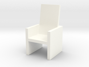 Card Holding Chair (7.184cm x 7.26cm x 12.786cm) in White Strong & Flexible Polished