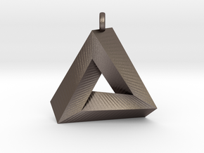Penrose Triangle - Pendant (3cm   2.5mm O-Ring) in Stainless Steel