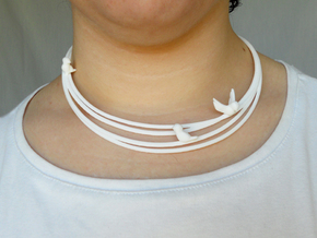 Birds on Wires Necklace in White Strong & Flexible Polished