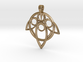 Yuna Summoner Pendant  in Polished Gold Steel