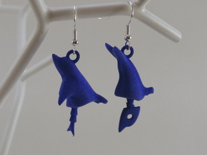 Dolphin Seraphinianus - Earrings in White Strong & Flexible