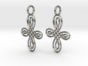Celtic Round Cross Earrings in Raw Silver
