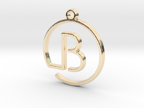 B Monogram Pendant in 14k Gold Plated