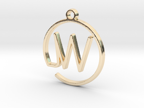 W Monogram Pendant in 14k Gold Plated