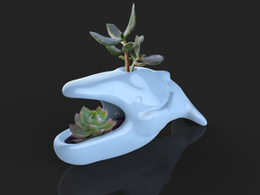Hump whale flower pot in Gloss Celadon Green Porcelain