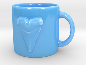 Shark Tooth Coffee Mug in Gloss Blue Porcelain