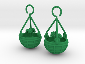 Hanging Basket Earrings in Green Strong & Flexible Polished