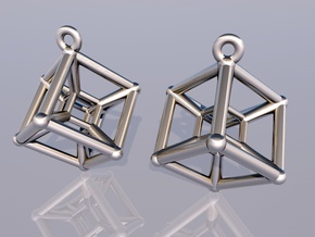 Tesseract Earrings in Polished Silver