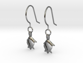 Turtle Heart Earrings in Polished Silver