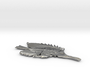 Butterfly Fish Skeleton Pendant in Raw Silver