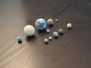 Tiny 10 largest solid solar system objects + Pluto in Full Color Sandstone