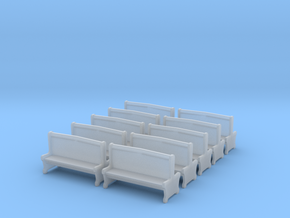 Bench type A - H0 ( 1:87 scale )10 Pcs set  in Frosted Ultra Detail