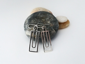 Simple Geometry - Miodern Earrings in Fine Metal in Polished Silver