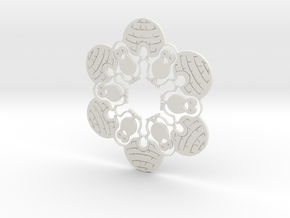 Penguin & Igloo Snowflake Ornament in White Strong & Flexible
