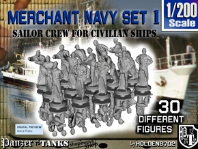 1-200 Merchant Navy Crew Set 1 in Frosted Extreme Detail