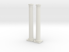 Doric Columns 3000mm hight at 1:76 scale X 2  in White Strong & Flexible