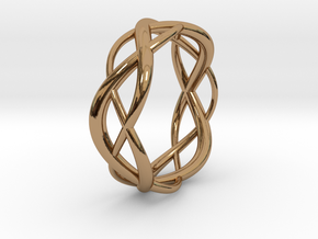 Lissajous Ring 17mm, 3-7-5 in Polished Brass