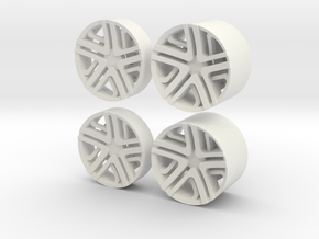 LC Rims - Inserts for Slot Car Wheels  in White Strong & Flexible