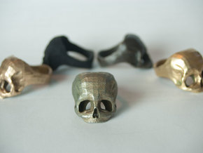 Stainless Steel Skull Ring by Bits to Atoms in Stainless Steel