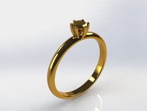 Diamond ring in Polished Gold Steel