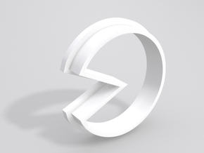 Pacman Cookie Cutter in White Strong & Flexible Polished