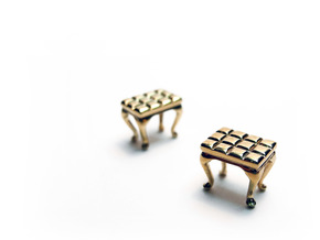 1:48 Tufted Vanity Stool in Polished Brass
