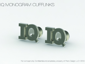 Monogram Cufflinks IQ in Polished Silver