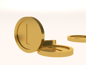 Mario Coin in Polished Gold Steel