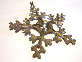 Snow Flake 5 Points - w Loopet - 7cm in Matte Bronze Steel