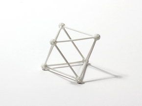 'Sprued' Octahedron #white in White Strong & Flexible Polished
