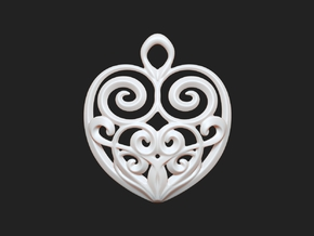 Heart-shaped Pendant 30mm in White Strong & Flexible