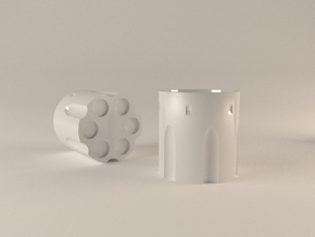 Revolver Cylinder Cup 55ml in Gloss White Porcelain
