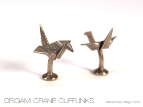 Origami Crane Cufflinks in Stainless Steel