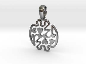Gye Nyame Hearts - Pendant in Polished Silver