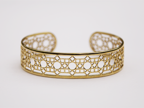 Intricate Geometric Pattern Cuff Bracelet in Polished Brass