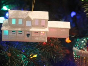 YOUR HOUSE as a Custom Christmas Tree Ornament in White Strong & Flexible