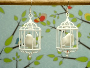 Bird in a Cage 02 in White Strong & Flexible