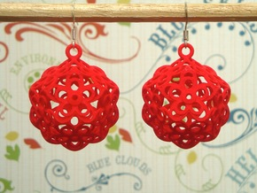 Flower Dodecahedron Earrings in White Strong & Flexible